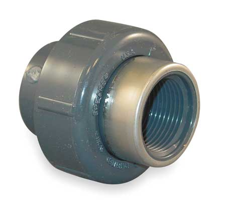 "1-1/4"" Socket x FNPT PVC Stainless Steel Union"