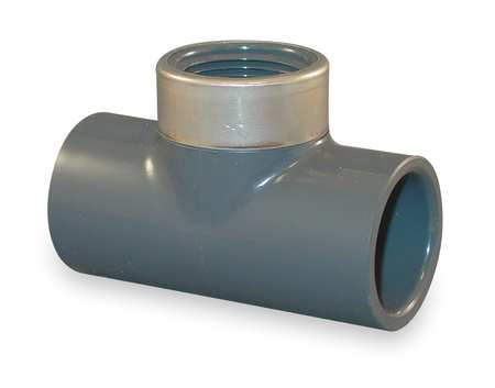 "1-1/2"" Socket x 1"" FNPT PVC Stainless Steel Tee"