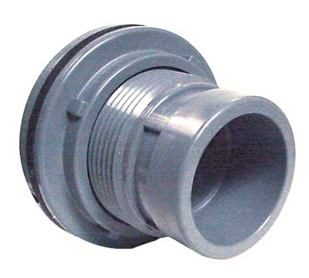 Bulkhead Tank Fitting, 1 1/2 In, FNPT, CPVC