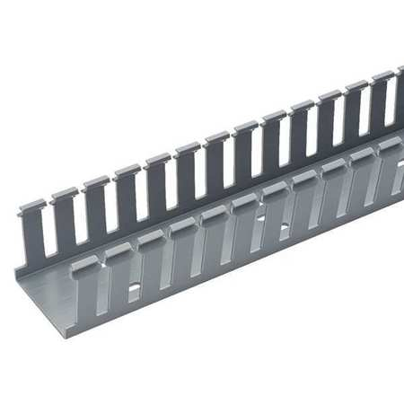 Wire Duct, Wide Slot, Gray, L 6 Ft