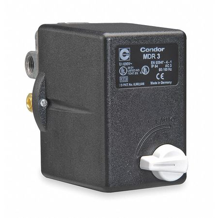 Pressure Switch, 3PST, 80/100 psi, Diaphrgm