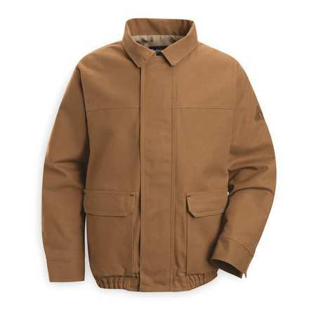 Long Flame Resistant Bomber Jacket,  Brown,  XL