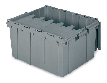 Attached Lid Container,  2.30 cu ft.,  Gray