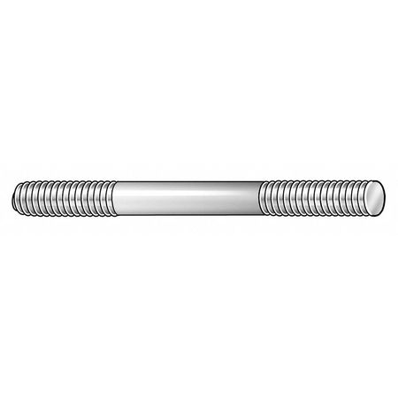 "1/2""-13 x 4"" Plain 18-8 Stainless Steel Double End Threaded Studs,  2 pk."