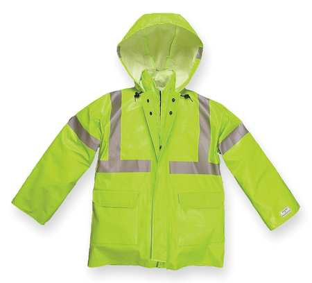 Arc Flash Rain Jacket with Hood,  Lime Yellow,  2XL