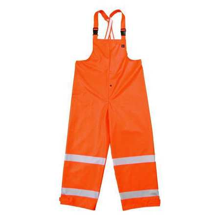 Arc Flash Rain Bib Overall,  Orange,  Flame Resistant,  4XL