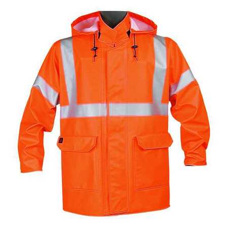 Arc Flash Rain Jacket with Hood,  Orange,  Flame Resistant,  L