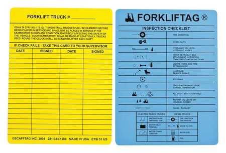 Forklift(tm) Tag Insr, Bl, Vinyl, PK100