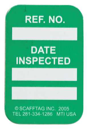 Microtag(r) Inspected Insr, Wht/Grn, PK100