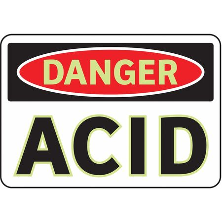 Danger Sign, 7 x 10In, R and BK/WHT, Acid