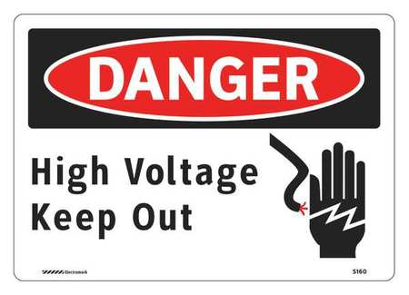 Danger Sign, 7 x 10In, R and BK/WHT, ENG, HV