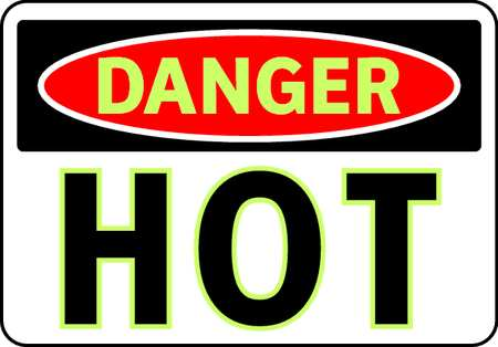 Danger Sign, 7 x 10In, R and BK/WHT, Hot