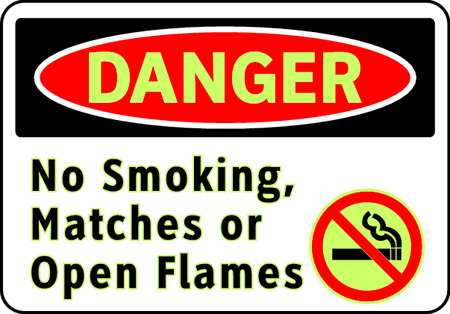 Danger No Smoking Sign, 7 x 10In, ENG, SURF