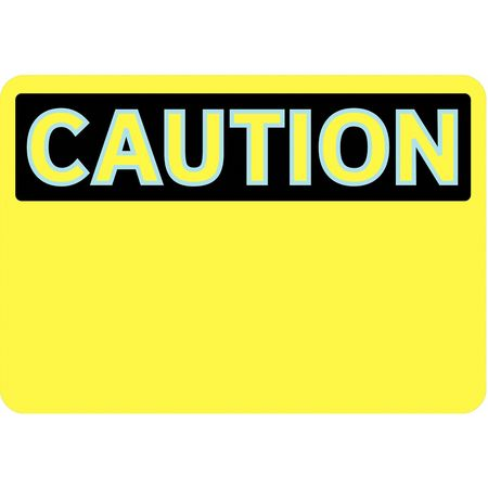 Caution Sign, 7 x 10In, BK/YEL, BLK, SURF
