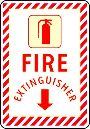 Fire Extinguisher Sign, 10 x 7In, FEXT, ENG