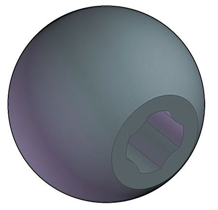 "Universal Ball Knob No Insert,  1/2"",  5/8"" Thread Size,  1.75""L"