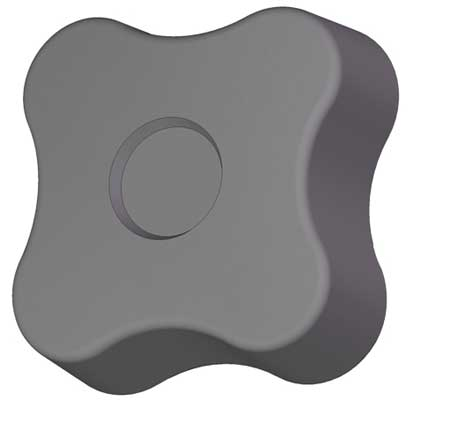 Soft Four Lobe Knob, Blind, 5/16-18, 1 3/4