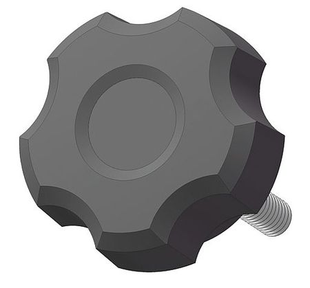 "Fluted Knob with Screw,  5/16-18 Thread Size,  0.75""L,  Steel"