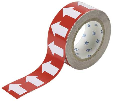 Arrow Tape, White/Red, 4 In. W, 90 ft. L