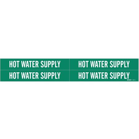 Pipe Mrkr, Hot Water Supply, 3/4to2-3/8 In
