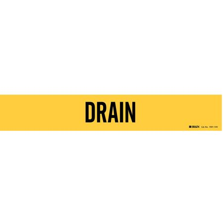 Pipe Marker, Drain, Yellow, 8 In or Greater