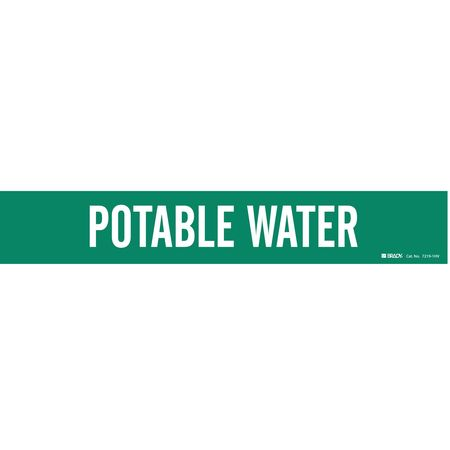 Pipe Marker, Potable Water, Gn, 8 In orGrtr