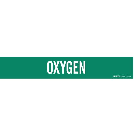 Pipe Marker, Oxygen, Green, 8 In or Greater