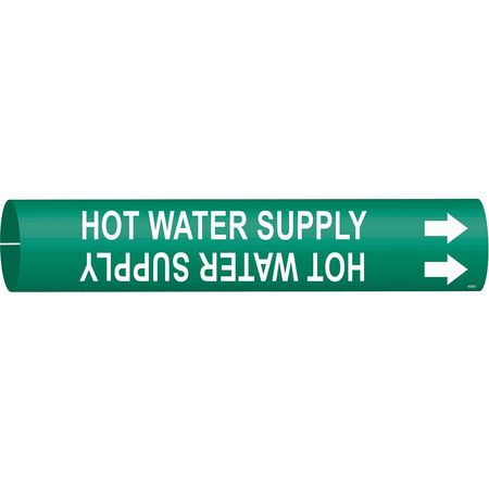 Pipe Mrkr, Hot Water Supply, 2-1/2 to3-7/8