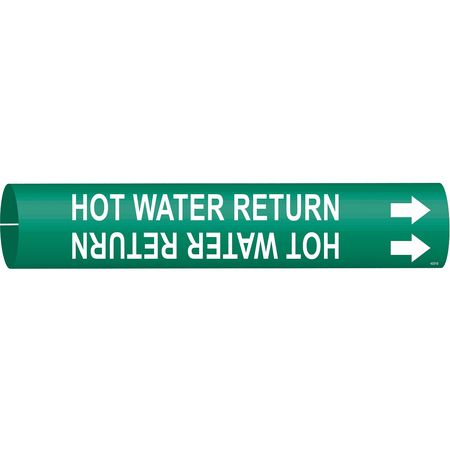 Pipe Marker, Hot Water Return, Gn, 4 to6 In