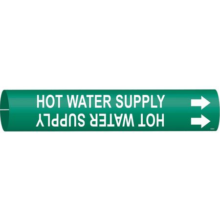Pipe Marker, Hot Water Supply, Gn, 4 to6 In