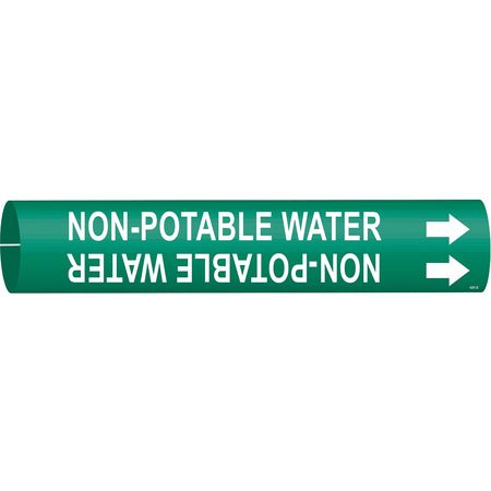 Pipe Marker, Non-Potable Water, Gn, 4to6 In