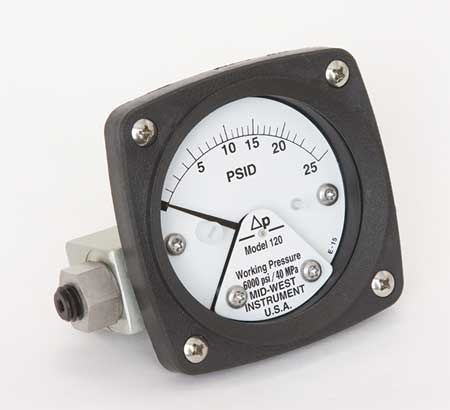 Pressure Gauge, 0 to 25 psi