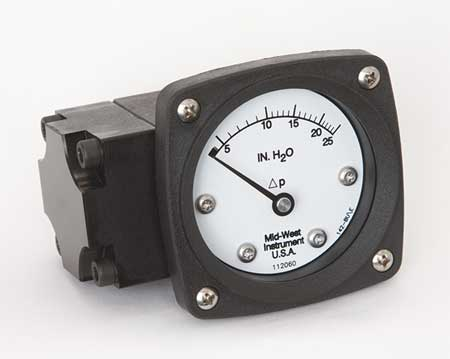 Pressure Gauge, 0 to 25 In H2O