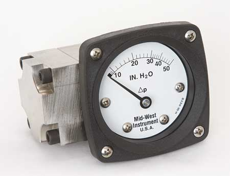 Pressure Gauge, 0 to 50 In H2O