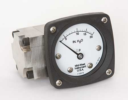 Pressure Gauge, 0 to 20 In H2O