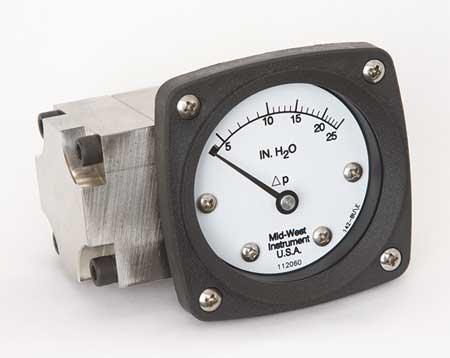 Pressure Gauge, 0 to 25 In H2O