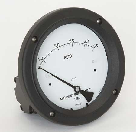 Pressure Gauge, 0 to 5 psi