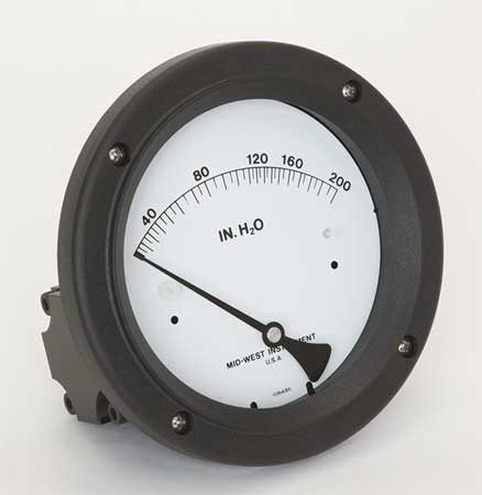 Pressure Gauge, 0 to 200 In H2O