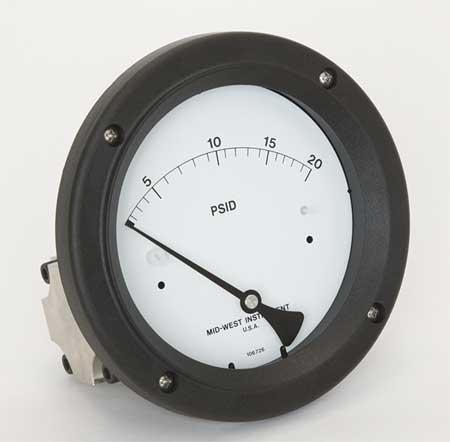 Pressure Gauge, 0 to 20 psi