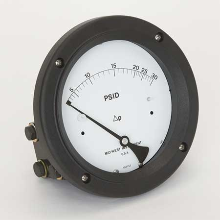 Pressure Gauge, 0 to 30 psi