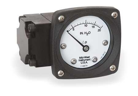 Pressure Gauge, 0 to 20 In H2O