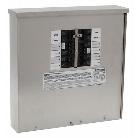 Manual Transfer Switch, 125/250V, 18 In. H
