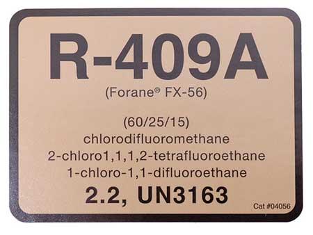 R-409A Refrigerant ID Labels, PK10