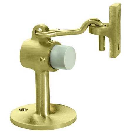 Hook-Style Door Holder, 2-1/2In, Pol Brass