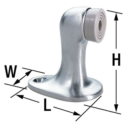 Rigid Door Stop, Floor Mount, Satin Chrome