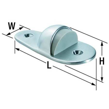 Dome Door Stop, Floor Mount, Satin Chrome