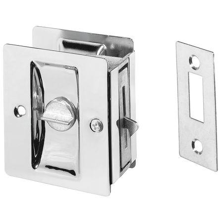 Locking Pocket Door Pull Handle, Brass