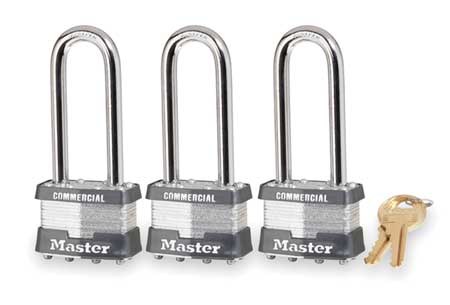 "Keyed Padlock, Alike, 1-3/4""W, PK3"