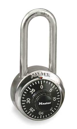 Combination Padlock, Front, Black/Silver