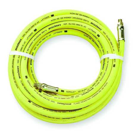 "1/2"" ID x 25 ft Rubber Coupled Air Hose 500 PSI YL"